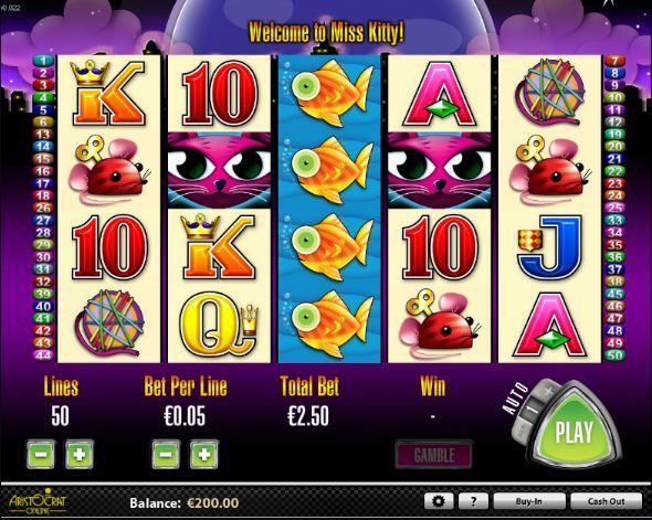 Der Slot Miss Kitty –Miss Kitty von Aristocrat online spielen
